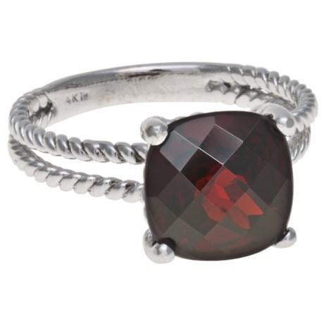 Millennium Creations Garnet Ring - 14K White Gold