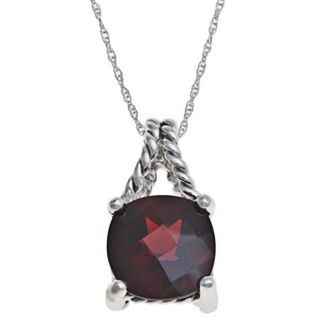 Millennium Creations Garnet Necklace - 14K White Gold