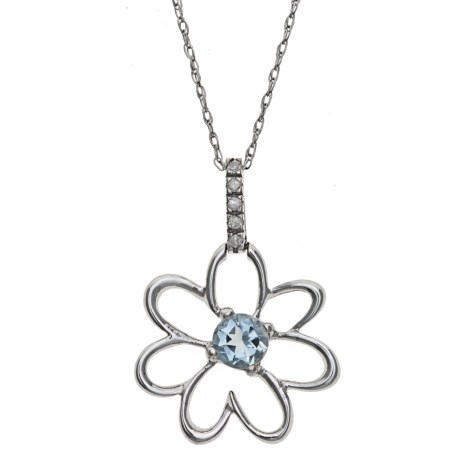 Millennium Creations Floral Aquamarine Necklace - 10K White Gold