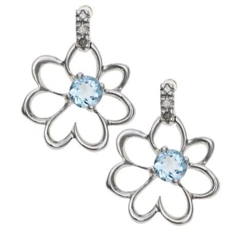 Millennium Creations Floral Aquamarine Earrings - 10K White Gold