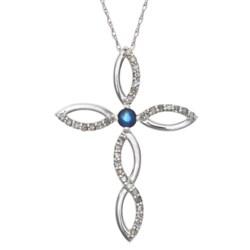 Millennium Creations Sapphire Cross Necklace - 10K White Gold