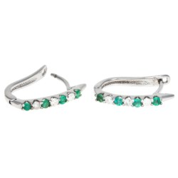 Millennium Creations Gemstone Hoop Earrings - 10K White Gold