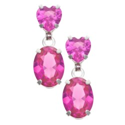 Millennium Creations Created Pink Sapphire Earrings - 10K White Gold