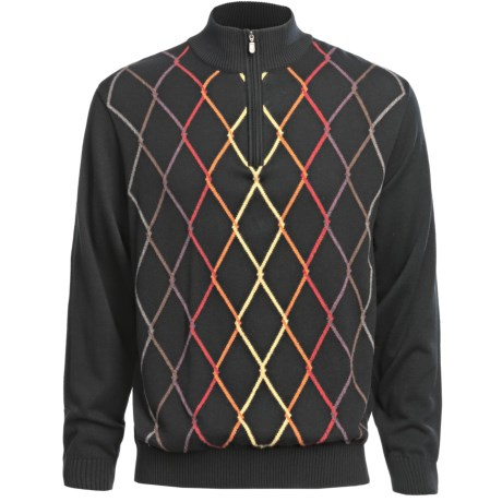 Bullock & Jones Argyle Sweater - Zip Neck, Cotton-Cashmere-Wool (For Men)
