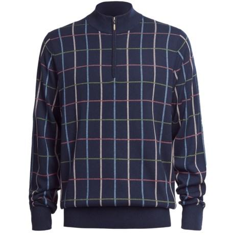Bullock & Jones Windowpane Zip-Mock Pullover - Silk-Cotton-Cashmere, Long Sleeve (For Men)