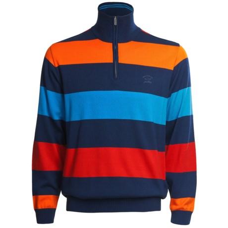 Paul & Shark Cotton Stripe Sweater - Zip Neck (For Men)