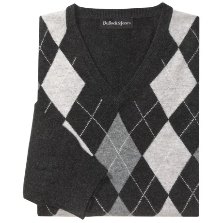 Bullock & Jones Cashmere Argyle Sweater - V-Neck (For Men)