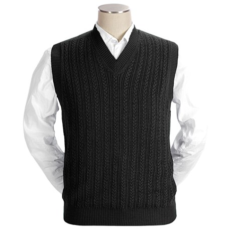 Bullock & Jones Cable Vest - Baby Alpaca-Silk (For Men)