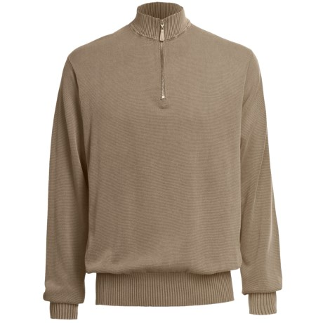 Bullock & Jones Enzyme-Washed Cotton Sweater - Zip Neck (For Men)