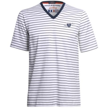 Paul & Shark Striped Cotton T-Shirt - V-Neck, Short Sleeve (For Men)