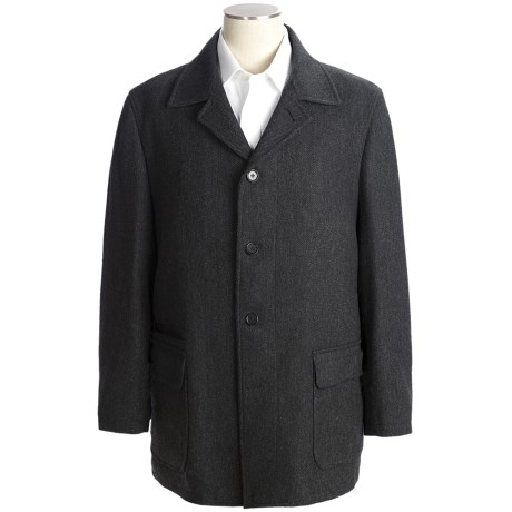 Ibiza Car Coat - Wool Herringbone (For Men)