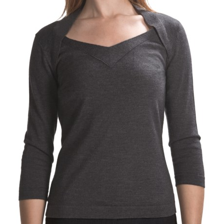 Lafayette 148 New York Cashwool Portrait Sweater - 3/4 Sleeve (For Women)