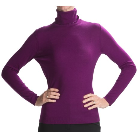 Lafayette 148 New York Fine Gauge Merino Wool Turtleneck Sweater - Jersey Stitch (For Women)