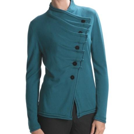 Lafayette 148 New York Cashmere Cardigan Sweater - Asymmetric Pleats (For Women)