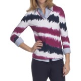Lafayette 148 New York Marble Jersey Shirt - 3/4 Sleeve (For Women)