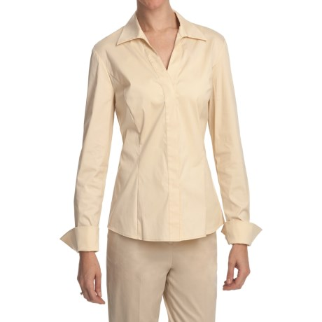 Lafayette 148 New York Wing Collar Shirt - Stretch Cotton, Long Sleeve (For Women)