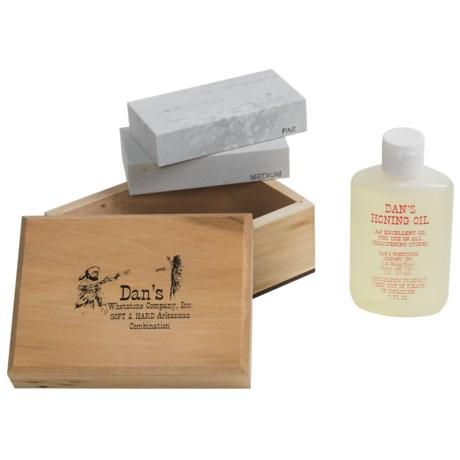 Dan's Whetstone Soft-Hard Sharpening Stone Box Set - 4'' Select Arkansas Stones, Honing Oil
