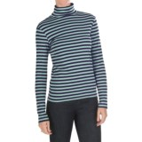 Joan Vass Striped Mock Turtleneck - Long Sleeve (For Women)
