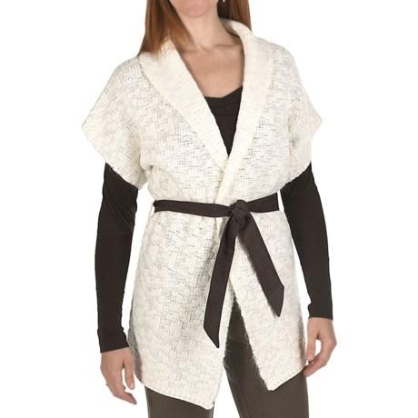 Joan Vass Wool-Mohair Cardigan Sweater - Belted, Short Sleeve (For Women)