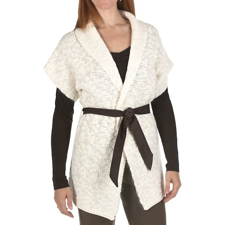Joan Vass Wool-Mohair Cardigan Sweater - Belted, Short Sleeve (For Women)