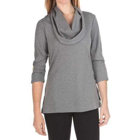 Joan Vass Cowl Neck Shirt - Cotton, 3/4 Sleeve (For Women)