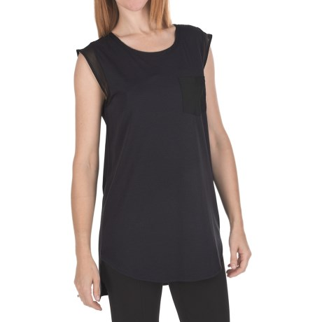 Joan Vass Chiffon Trim Tunic Shirt - Sleeveless (For Women)