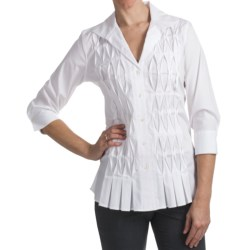 Paperwhite Cotton Blend Tunic Shirt - 3/4 Sleeve (For Women)