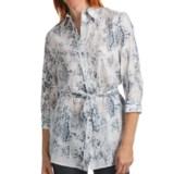 Paperwhite Printed Cotton-Silk Tunic Shirt - 3/4 Sleeve (For Women)