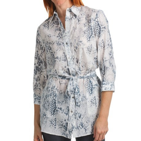 Paperwhite Printed Cotton-Silk Tunic Shirt - 3/4 Sleeve (For Women)