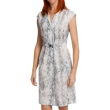 Paperwhite Printed Pintuck Shirt Dress - Cotton-Silk, Short Sleeve (For Women)