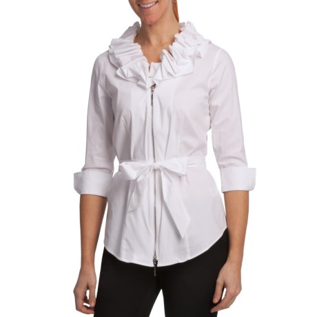 Paperwhite Zip Sleeve Shirt Jacket - Full Zip, 3/4 Sleeve (For Women)