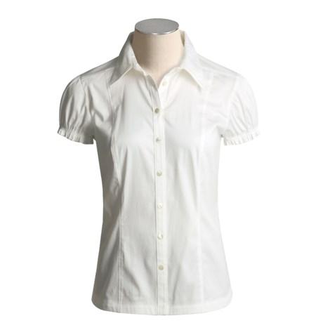 Eye Button-Up Shirt - Short Puff Sleeve (For Women)