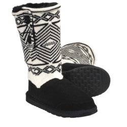 Aussie Dogs Ethnic Shearling-Lined Boots (For Women)