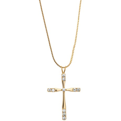 Jokara Cross Pendant with Chain - 14K-Gold-Plated Sterling Silver