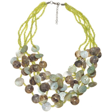 Jokara Multi-Strand Green Shell Necklace
