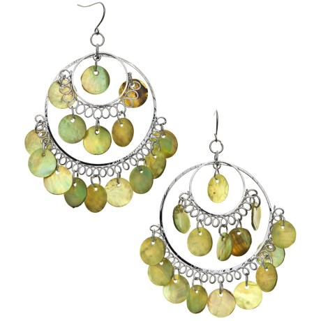 Jokara Green Shell Hoop Earrings - Sterling Silver
