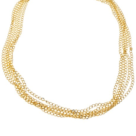 Jokara Gold Multi-Chain Necklace - Base Metal