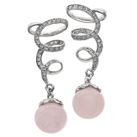 Jokara Rose Quartz and Cubic Zirconia Earrings - Sterling Silver