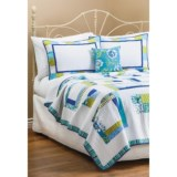 C & F Enterprises Cyan Square Patchwork Quilt - Full-Queen