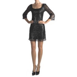 Muse Sequined Overlay Dress - 3/4 Sleeve (For Women)