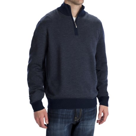 Toscano Diagonal-Weave Sweater - Merino Wool, Zip Neck (For Men)