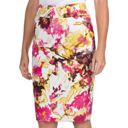 Womyn Floral Pencil Skirt - Stretch Cotton (For Women)