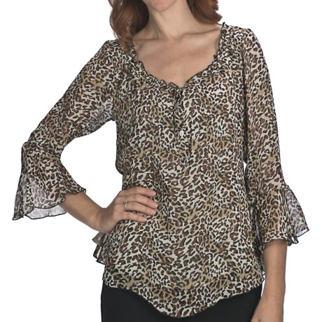 Indira Animal Print Chiffon Shirt - 3/4 Bell Sleeve (For Women)
