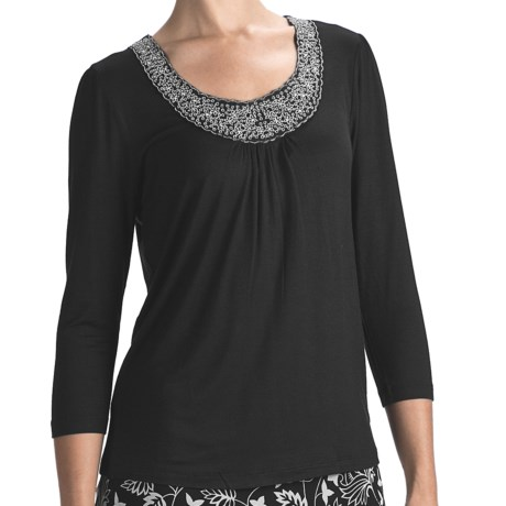 Indira Embellished Jersey Shirt - 3/4 Sleeve (For Women)