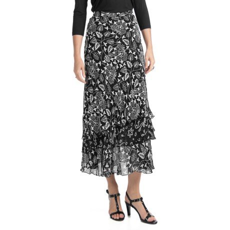 Indira Tiered Crepe Skirt (For Women)