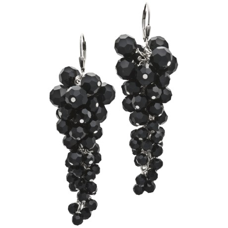 Silver Express Black Onyx Cluster Earrings - Sterling Silver