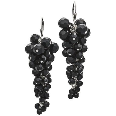 Silver Express Black Onyx Cluster Earrings - Sterling Silver