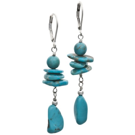 Silver Express Turquoise Dangle Earrings