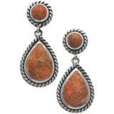 Silver Express Sponge Coral Earrings - Roped Sterling Silver