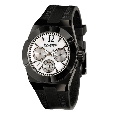 Haurex Ceramic and Mother-of-Pearl Watch - Rubber Strap (For Women)